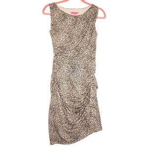 Betsy Johnson Sleeveless Gathered Cheetah Dress 2